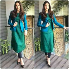 How to Make a Ethnic Dress Modern ? Salwar Designs, Kurta Designs Women, Kurti Neck Designs, Kurti Designs Party Wear, Latest Kurti Designs, Dress Indian Style, Indian Wear, Indian Suits Punjabi, Indian Fashion Salwar