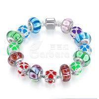 Barbara丨Multicolor Murano glass Beads Silver Charm Bracelets Handmade Jewelry