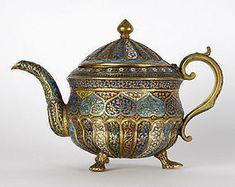 Century Kashmir Gilt Bronze w/ Enamel Teapot Teapots Unique, China Tea Sets, Bronze, Historical Artifacts, Teapots And Cups, Tea Art, Chocolate Pots, Tea Caddy, Islamic Art