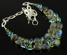 Labradorite & Multi Gemstone Designer Necklace 108 Grams  #16-4 by WhereDidYouBuyIt on Etsy