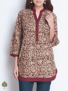 Buy Maroon Beige Olive Natural Dye Kalamkari Printed Pleated Neck Handloom Cotton Top by Jaypore Wom Salwar Designs, Short Kurti Designs, Kurta Designs Women, Dress Neck Designs, Blouse Designs, Hijab Stile, Mode Hippie, Kurta Neck Design, Batik Fashion