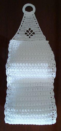 Porta papel higiênico em crochê-branco