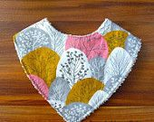 Handmade Forest organic cotton print dribble bib