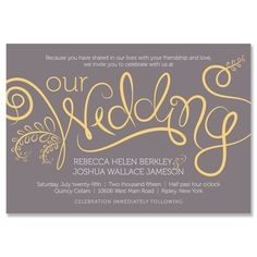 """""""Fresh"""" Unique Wedding Invitation in Smoke and Mustard   by The Green Kangaroo"""