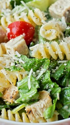 Chicken Caesar Pasta Salad ~ This tangy, creamy chicken Caesar salad is perfect for summer... It's light, flavorful and filling.