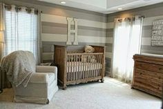 #1 Baby Room I like this minus the wall colors. It looks cool, but I think it's too dark for a baby's room. Cream or white walls. Could be for a boy or a girl depending on the accents you add. I love it!