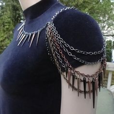 Mixed Metal Spiked Shoulder Chain Necklace Now Available in All One Colors of Silver, Gold, Gunmetal, Black, Copper or Bronze - Halskette Shoulder Jewelry, Shoulder Necklace, Body Chains, Jewelry Accessories, Jewelry Design, Wedding Accessories, Metal Spikes, Neck Chain, Accesorios Casual