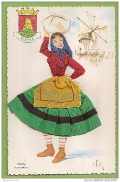 A washerwoman from Sintra Portugal Folk Costume, Costume Dress, Sintra Portugal, Old Postcards, Traditional Outfits, Brazil Brazil, 1, Culture, Disney Princess