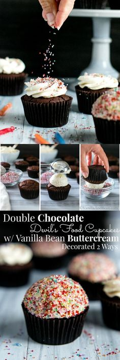 A chocolate lovers dream, decorated two ways! Double Chocolate Devils Food Cupcakes with Vanilla Bean Buttercream ~ A birthday dream! Baking Cupcakes, Yummy Cupcakes, Cupcake Recipes, Baking Recipes, Cupcake Cakes, Dessert Recipes, Heart Cupcakes, Picnic Recipes, Pink Cupcakes