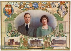 A portrait of the Duke and Duchess of York, the future King George VI and Queen Elizabeth (Queen Mother) surrounded by their coat of arms and three residences of significance - Glamis Castle, the childhood home of Elizabeth Bowes-Lyon, White Lodge, Richmond (the couple's first home after their marriage) and Buckingham Palace.