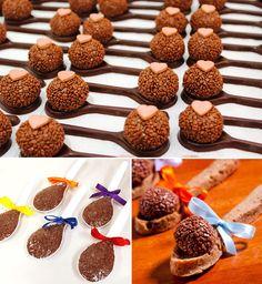 Brigadeiro na colher de chocolate: Dona Chocolate   Brigadeiro na colher: Fabiana d'Angelo   Brigadeiro na colher de cookie: Parapluie