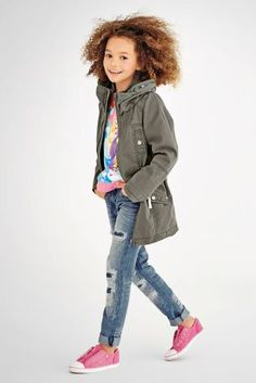 Khaki Rope Tie Parka (3-16 yrs) and Distressed Rip And Repair Straight Leg Jeans