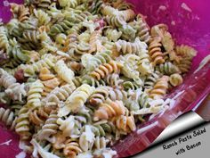 A delightful pasta salad with the great taste of bacon, cheddar cheese and a creamy sauce made from a packet of ranch dressing. My coworkers ask me to bring this to covered luncheons often. Time does not include chill time.