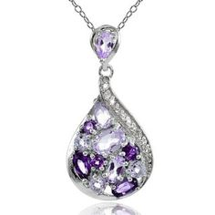 Shop for Glitzy Rocks Sterling Silver African Amethyst, Amethyst and White Topaz Tonal Teardrop Necklace. Free Shipping on orders over $45 at Overstock.com - Your Online Jewelry Destination! Get 5% in rewards with Club O! - 20763138