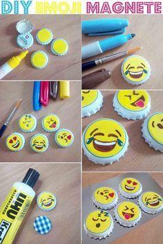 Magnete aus Kronkorken selber machen DIY Emojis Emoticons Magnets from bottle caps make DIY emoji emoticons Bottle Top Art, Bottle Top Crafts, Diy Bottle, Crafts To Do, Easy Crafts, Garrafa Diy, Emoji Craft, Emoji Diy, Diy Magnets