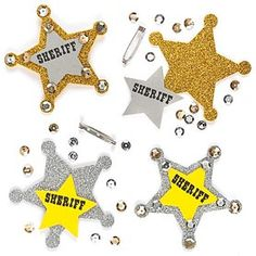 Be the Sheriff of the town with your own glittery badge! Each easy to make kit contains pre-cut foam and glitter foam pieces, sequins and self-adhesive badge pin.