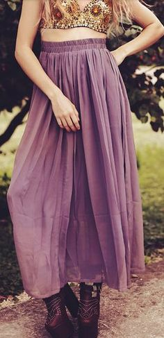 #purple chiffon pleated high-waisted maxi skirt http://rstyle.me/n/hsndhr9te