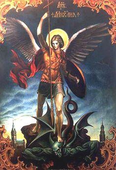 Enquanto o São Miguel Arcanjo combatia com o dragão, ouviu-se a voz dos que diziam: Viva o nosso Deus, Aleluia!