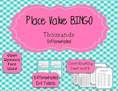 This BINGO game is great for small groups and whole class review of place value for the thousands period places.Included in your purchase:* 3 Versions of blank BINGO cards* 27 BINGO questions* Differentiated seat work pages--- Set A: Uses same (or similar) numbers from the question cards--- Set B: Uses new numbers* Differentiated exit tickets* Answer Keys for everything* Differentiated supports--- List of BINGO questions--- Place value charts in B&W, color, large, and small cards (It is r...
