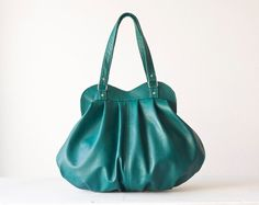 Shoulder bag in petrol green leather large purse  Iris by milloo, $195.00