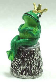 THE Frog Prince Pewter Thimble Fairytale Character Handpainted Novelty Thimble | eBay