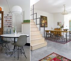 love the modern space & chairs w/ traditional rug & painting