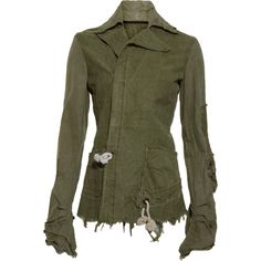 Greg Lauren Army Tent Arm Warmer Jacket ❤ liked on Polyvore featuring outerwear, jackets, greg lauren, green jacket, army green jacket and army jacket