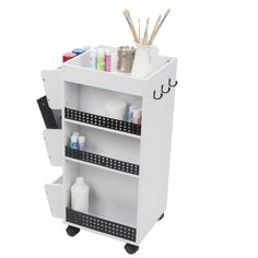 Features:  -3 Revolving shelves swivel out of the way for compact storage.  -3 Side storage bins can hold spray paint cans.  -3 Storage hooks.  -4 Casters for mobility with 2 locking for stability.  -