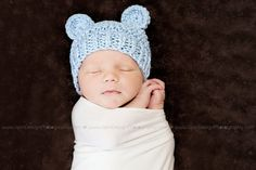 Baby Boy Organic Cotton Bear Hat in Dusty Blue  Or You by PhylPhil, $25.00