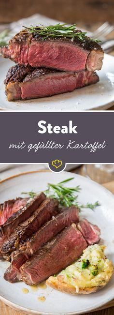 Ein wunderbares Rib Eye Steak mit gefüllter Kartoffel