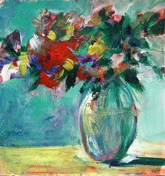 """""""Aqua-Rouge"""" - Original Fine Art for Sale - © Treselle LeDoux"""