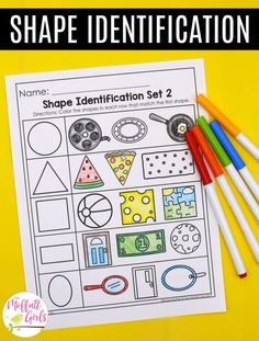 These NO PREP practice pages allow students to master math concepts through cutting and pasting, coloring, dice games and more! Best of all, you can refer back to the Preschool Math Standards page and see which standard each page covers! Shape Worksheets For Preschool, Kindergarten Math Activities, Pre K Activities, Preschool Age, Shape Activities, Preschool Ideas, Letter I Crafts, Teaching Shapes, Math Concepts