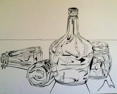 Line drawings of all glass objects (done in microns, drawn from life) Contour Line Drawing, Sketchbook Assignments, Still Life Drawing, Drawing Projects, High School Art, Traditional Paintings, Teaching Art, Art Sketchbook, Art Studios