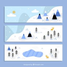 Hand drawn snowed landscape banners Free Vector