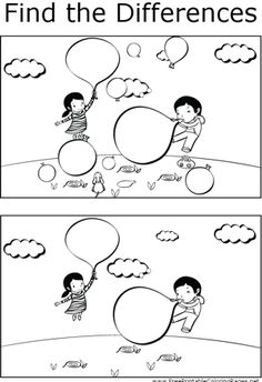 There are several differences that can be found between the two pictures of a boy and girl blowing up balloons in this printable coloring page for children.