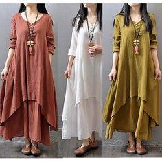 Hot-Boho-Cotton-Linen-Casual-Womens-Ladies-Vintage-Long-Dresses-Long-Sleeve-New