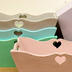 Cute containers with little heart cut-outs Soft Colors, Pastel Colors, Soft Pastels, Pastel House, Painted Furniture, Refinished Furniture, Pretty Pastel, Toy Chest, Storage Chest