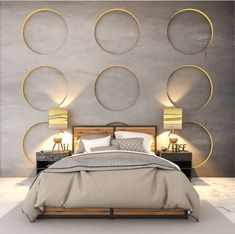 Looking to incorporate a rustic look here the designer has created wall panels using concrete. The circle cut outs with. Bedroom Wall Designs, Bedroom False Ceiling Design, Modern Master Bedroom, Bedroom Furniture Design, Master Bedroom Design, Bedroom Decor, Bed Furniture, Room Interior, Home Interior Design