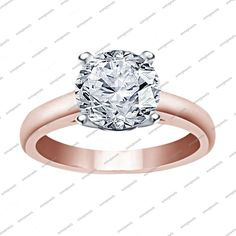 Solitaire D/VVS1 Sim Diamond in 925 Silver Wedding Ring 14k Rose Gold Finish #aonedesigns #Solitaire #WedingEngagementAnniversaryBrithdayPartyGift