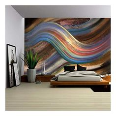 Wall - abstract painting showing a symbolic alternating scenery - removable wall mural self-adhesive large wallpaper - x inches - Bedroom Wall, Bedroom Decor, Bedroom Ideas, Wall Designs For Bedroom, Bedroom Colors, Master Bedroom, 3d Wanddekor, Grey Abstract Art, Removable Wall Murals