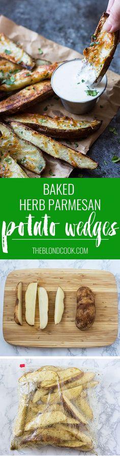 Baked Herb Parmesan Potato Wedges - Crispy baked potato wedges with herbs and Parmesan cheese | theblondcook.com