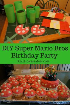 DIY Super Mario Bros Birthday Party ideas homemade decorations cupcakes and obstacle course. Super Mario Party, Super Mario Bros, Super Mario Cupcakes, Super Why Party, Super Mario Brothers, Mario Birthday Cake, Super Mario Birthday, 6th Birthday Parties, 8th Birthday
