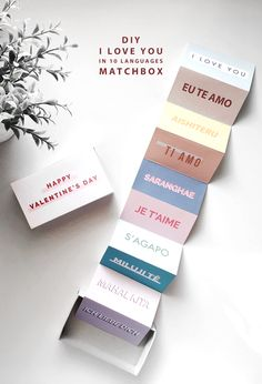 Say 'I love you' in 10 different languages this Valentine's using 1 printable and 3 DIY ideas. DIY #1 is a matchbox!