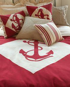 I want this nautical bedding! Nautical Bedding, Nautical Home, Anchor Bedding, Unique Bedding, Vintage Nautical, Beach Cottage Decor, Coastal Decor, Coastal Cottage, Coastal Homes