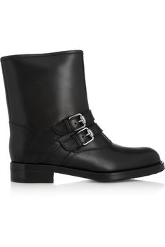 Heel measures approximately 30mm/ 1 inch Black leather Buckled tabs, round toe, fully lined in shearling Pull on