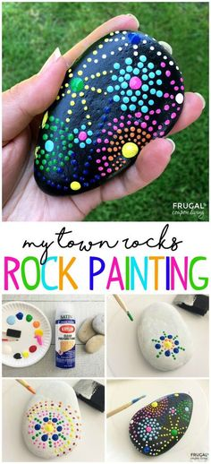 My Town Rocks Rock Painting Ideas We put together some of the most creative and adorable Rock Painting Ideas for Kids. Paint and get rocks ready for your My Town Rocks rock hunt! My Town Rocks Rock Painting Ideas on Frugal Coupon Living. Pebble Painting, Dot Painting, Pebble Art, Stone Painting, Stone Crafts, Rock Crafts, Arts And Crafts, Diy Crafts, Rock Painting Ideas Easy