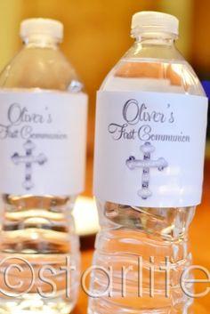 First Communion bottle labels - White Silver Cross - favors - Confirmation - PRINTABLE - DIY. $8.00, via Etsy.