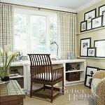 b photos, creamy wall color, plaid,  cheery office