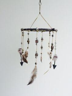 Dream Catcher Mobile / Feather Arrow Dreamcatcher / Baby Mobile / Woodland Nursery / Minimalist Baby / Crystal Mobile / Fox & Hound