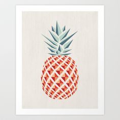 Graphic Design Pineapple (Art Print by basilique) Geometric Art, Art Design, Pineapple Art Print, Creative, Illustration Design, Graphic Design, Design Art, Color Inspiration, Prints